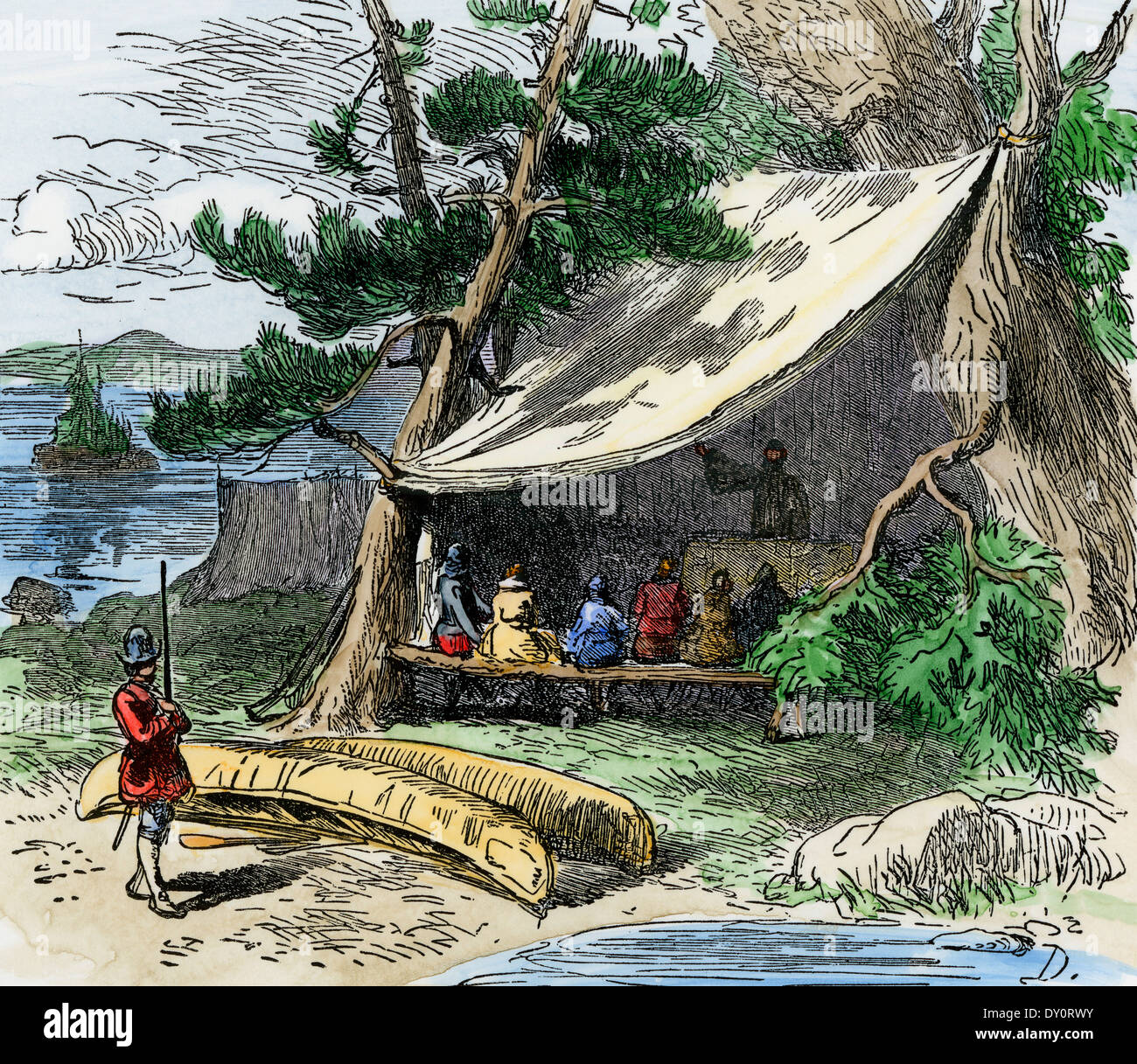 Makeshift religious services at Jamestown, Virginia Colony, 1607.  Hand-colored woodcut