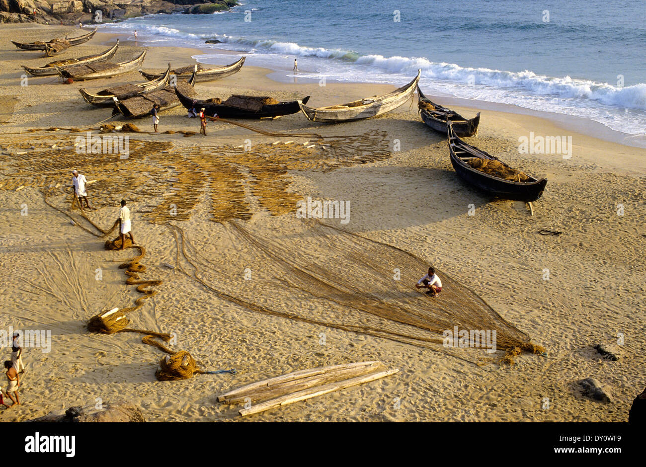 Fisher man's, Kovalam beach. Kerala state.South India. - Stock Image