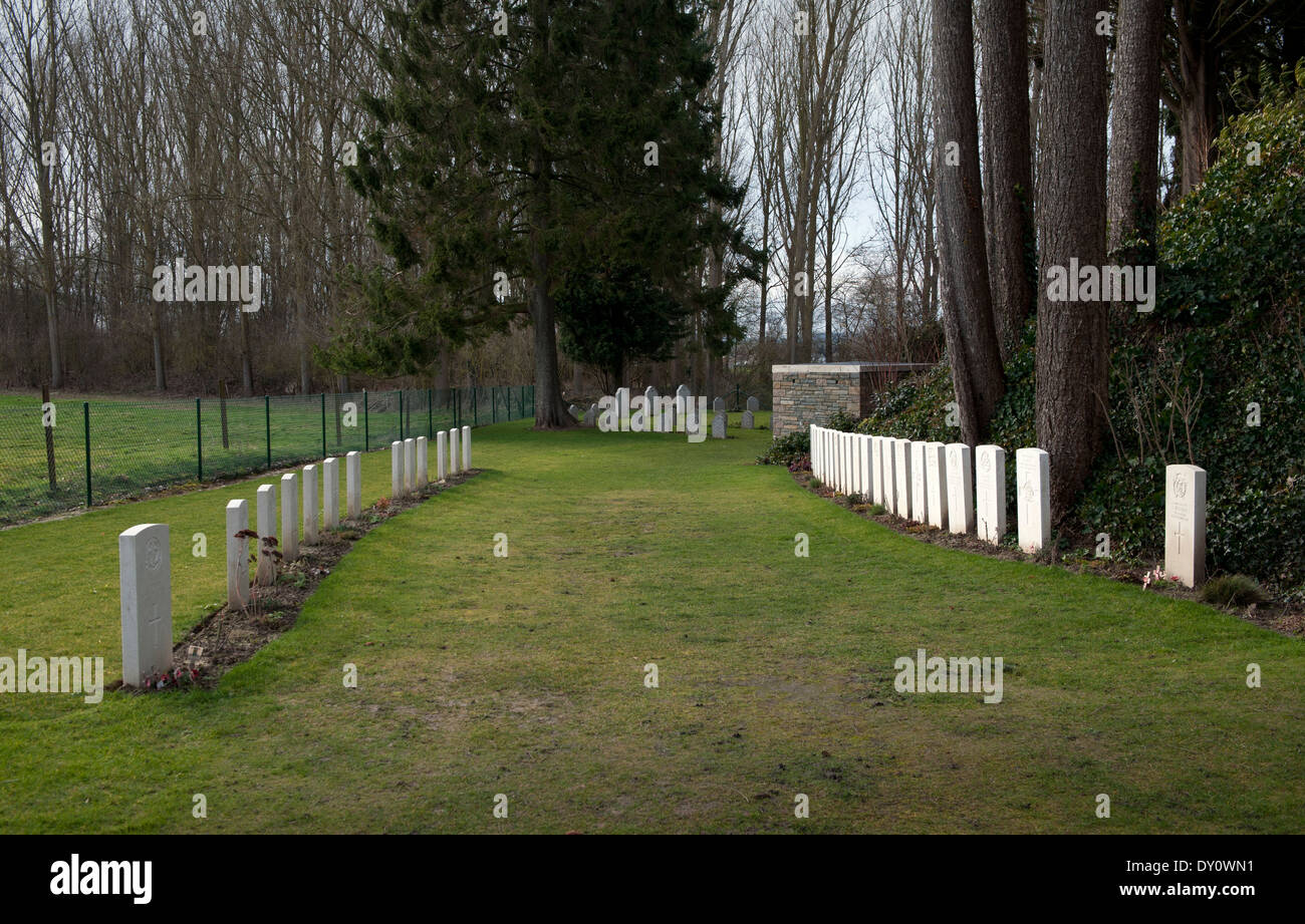 St Symphorien Military Cemetery,Mons, Belgium. Feb 2014 First death John Parr on left opposite last to die George Ellison right. - Stock Image