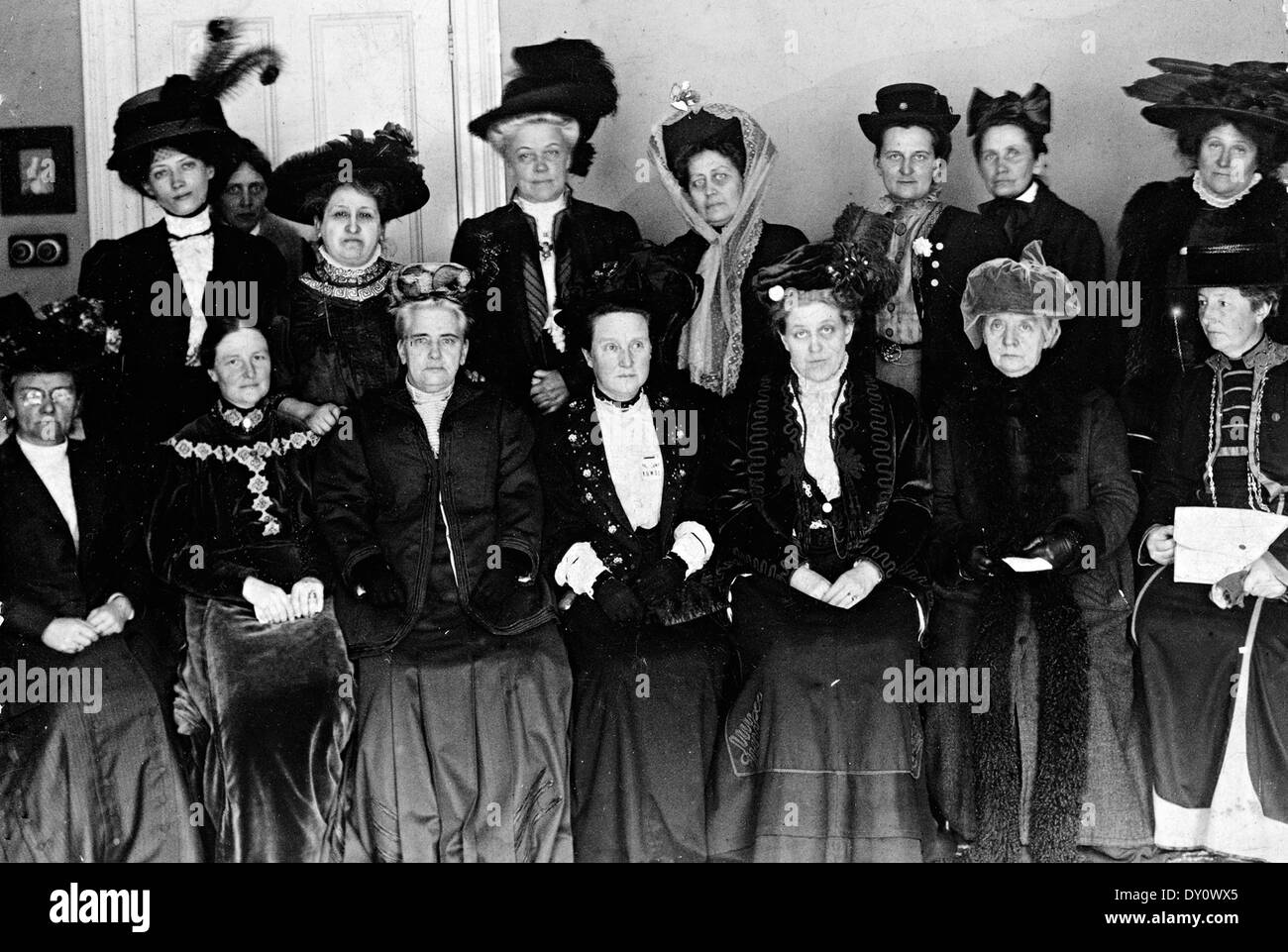 SUFFRAGE ALLIANCE CONGRESS in London in April 1909 with their President Millicent Fawcett seated centre. - Stock Image
