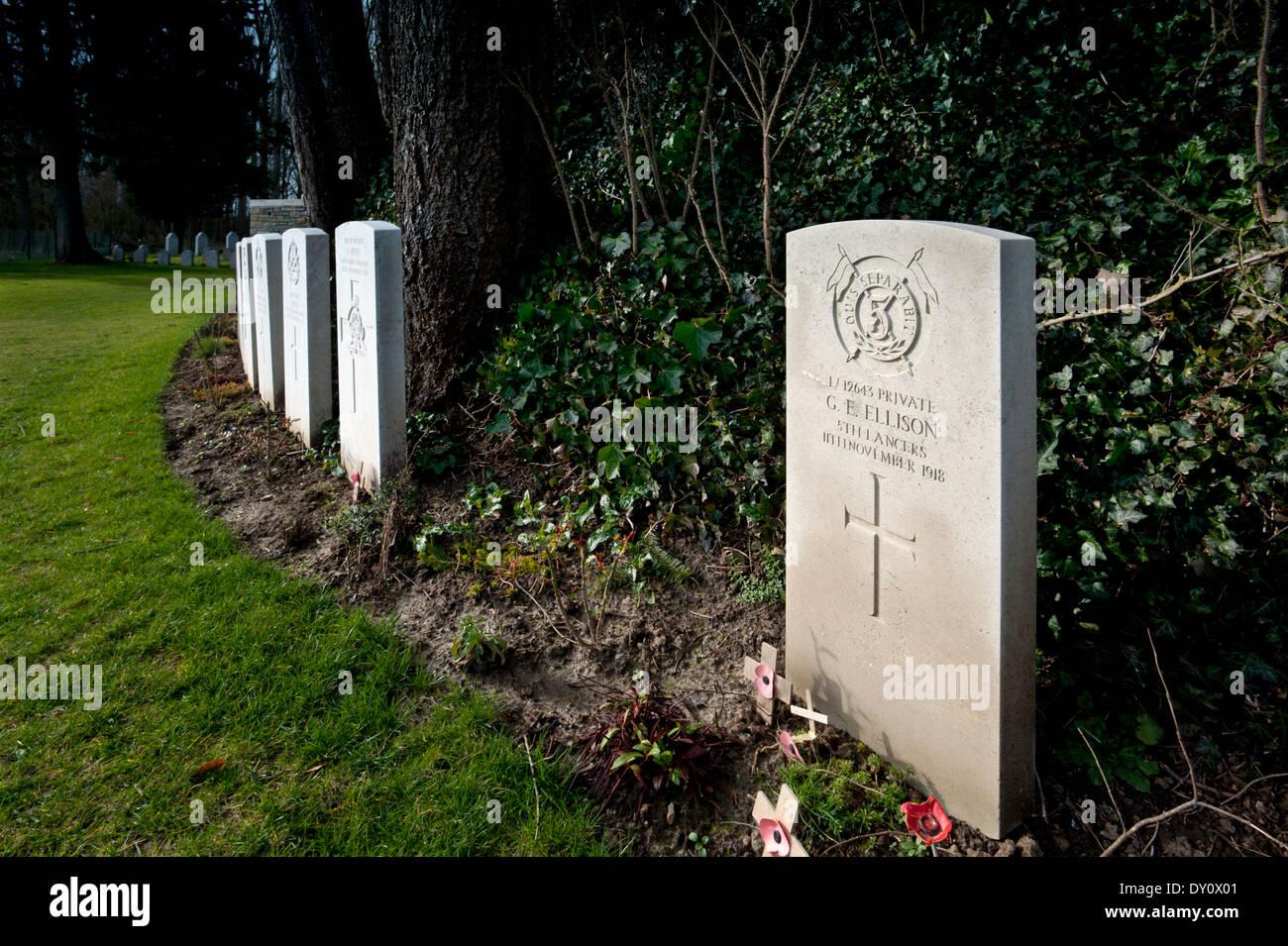 St Symphorien Military Cemetery,Mons, Belgium. February 2014 George Ellison, last British Soldier to die in WW1 ,11 Nov 1918. - Stock Image