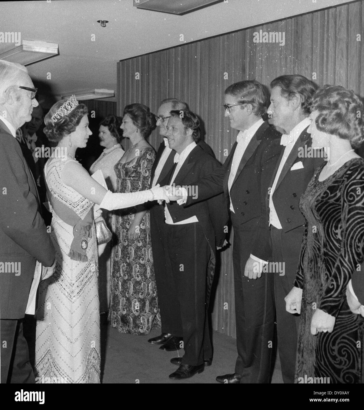 Queen Elizabeth attends the official opening performance (Beethoven's 9th Symphony) of the Sydney Opera House and meets the artists, 20 Oct 1973 / photographer Jack Hickson - Stock Image