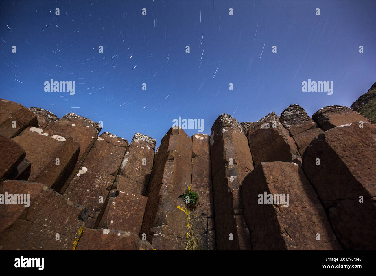 Starry night above the basalt columns at the Giant's Causeway UNESCO World Heritage site. - Stock Image