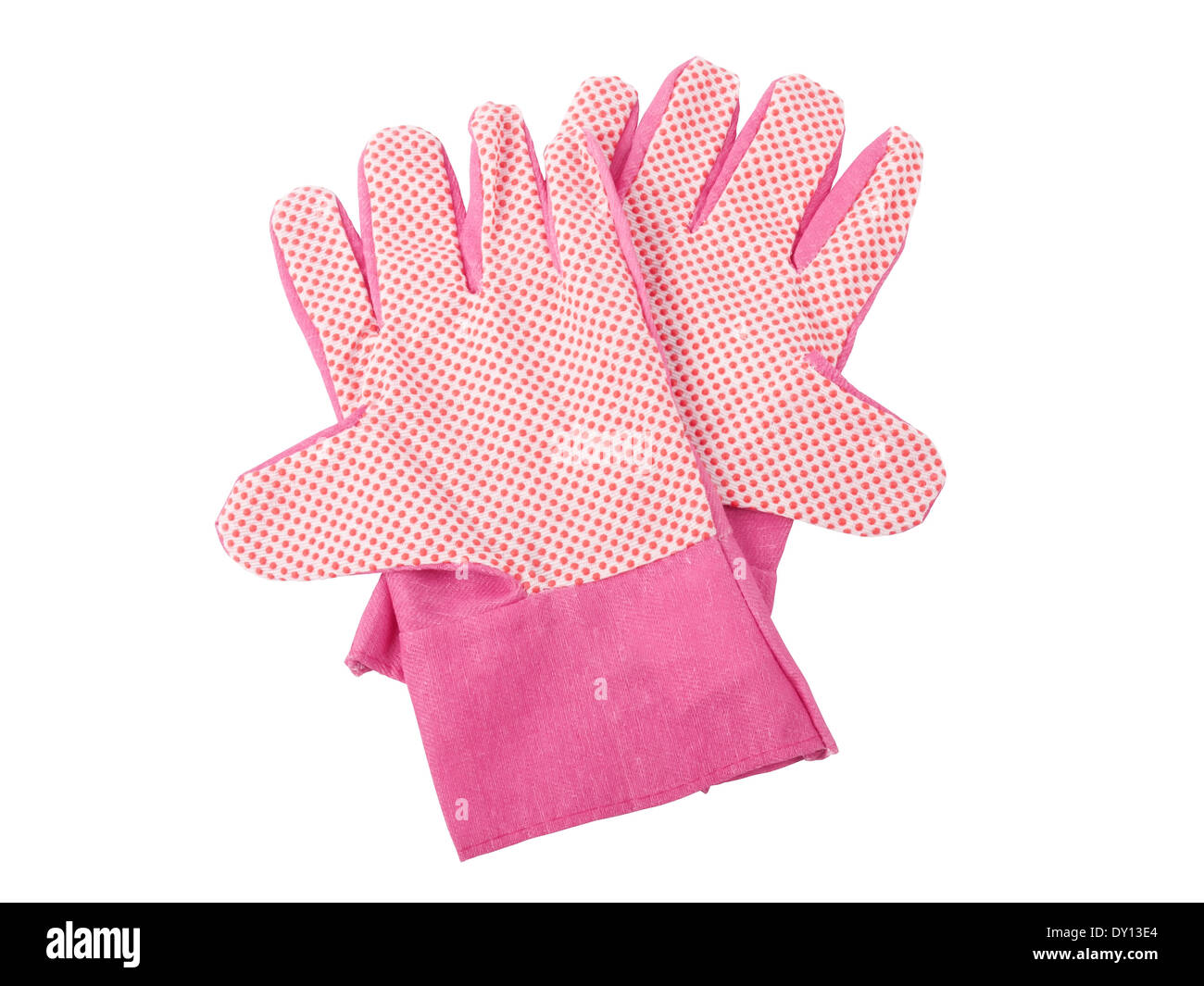 pair of gardening gloves isolated on white background - Stock Image