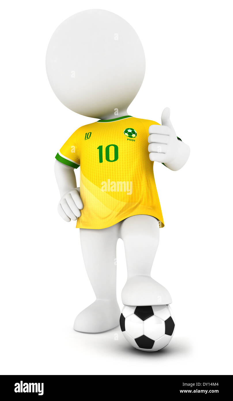 3d white people soccer player with yellow jersey, isolated white background, 3d image Stock Photo