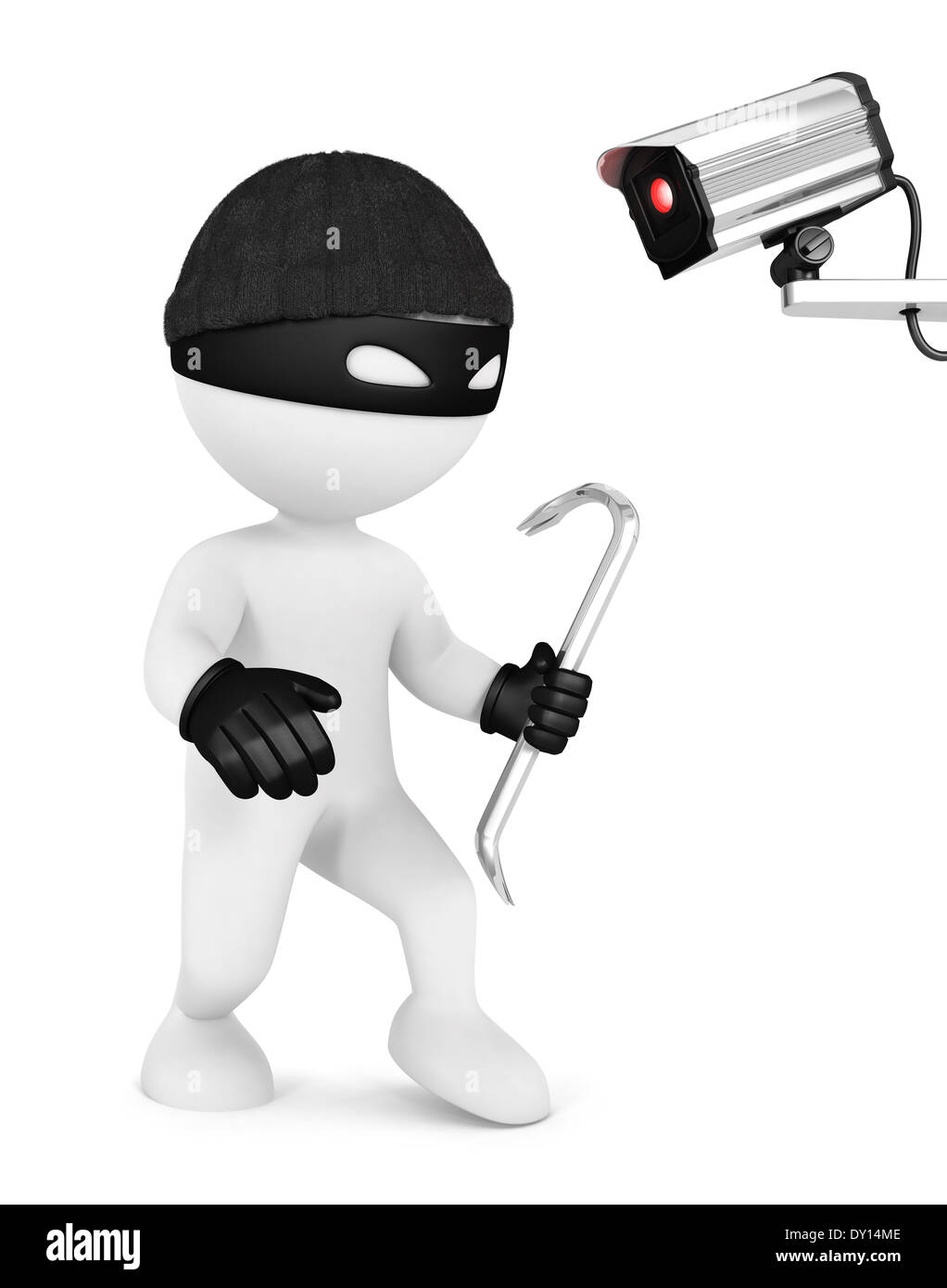 3d white people thief and security camera, isolated white background, 3d image Stock Photo