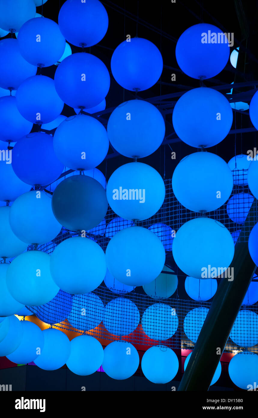 Blue spheres lighting display at The Dome, London. - Stock Image