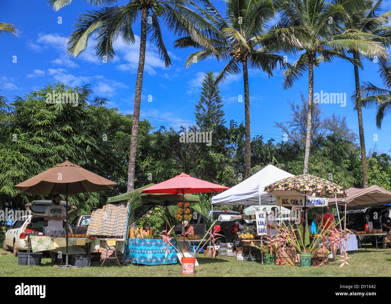 The Waipa Farmers Market on Kauai Stock Photo