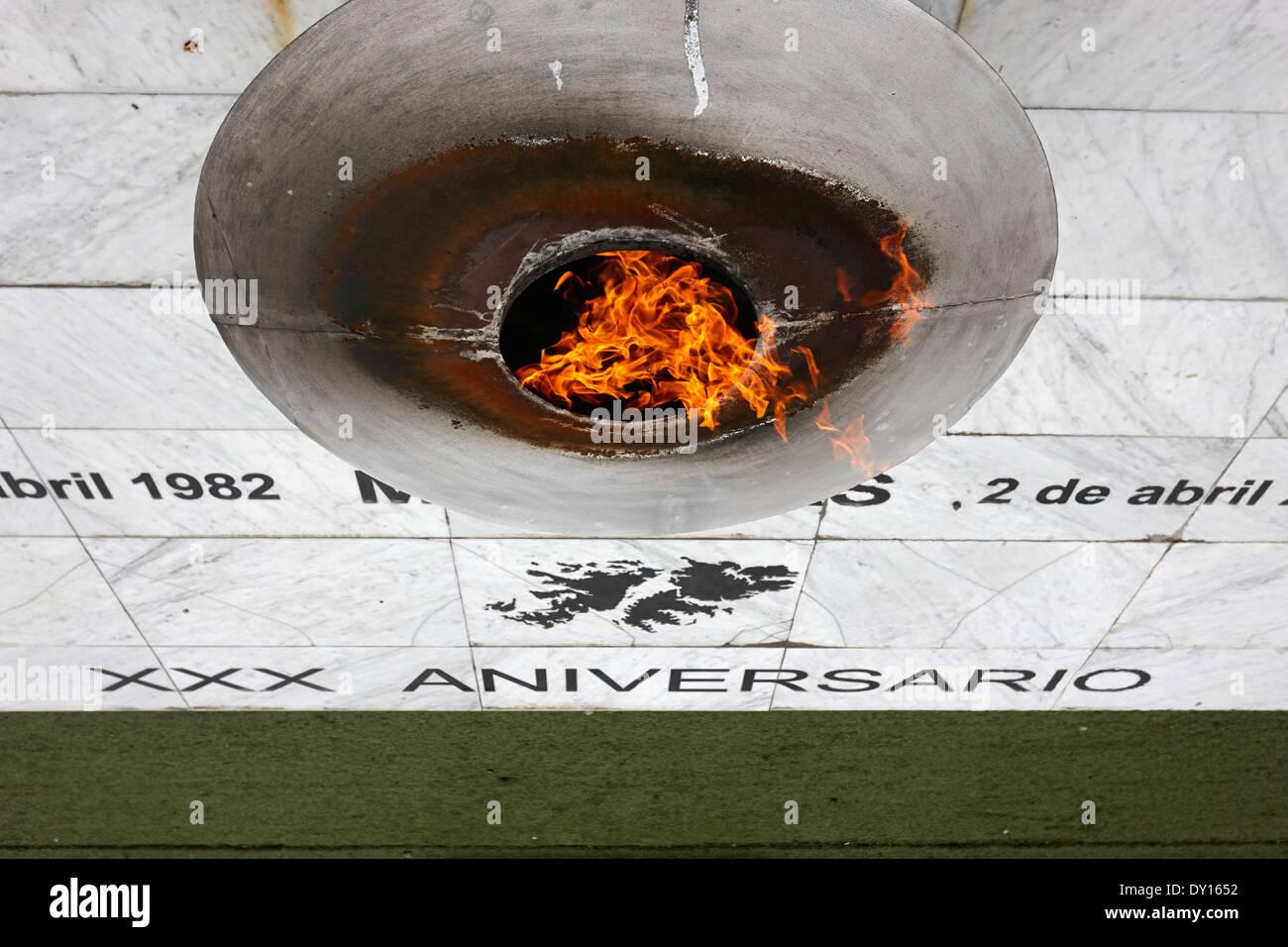 eternal flame islas malvinas war memorial ushuaia argentina - Stock Image