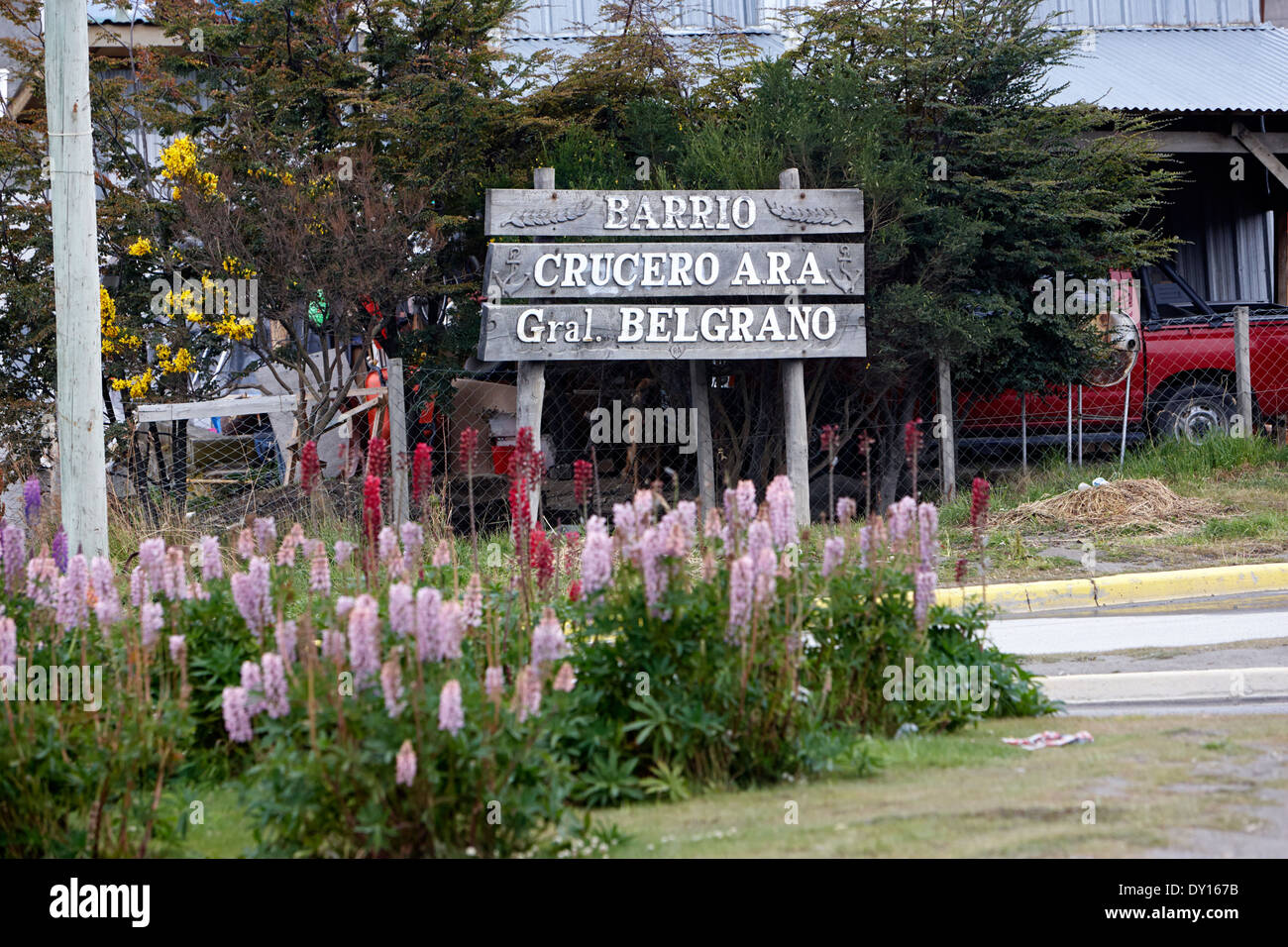 barrio general belgrano area memorial ushuaia argentina ushuaia was the home port of the belgrano cruiser sunk in the falklands war - Stock Image