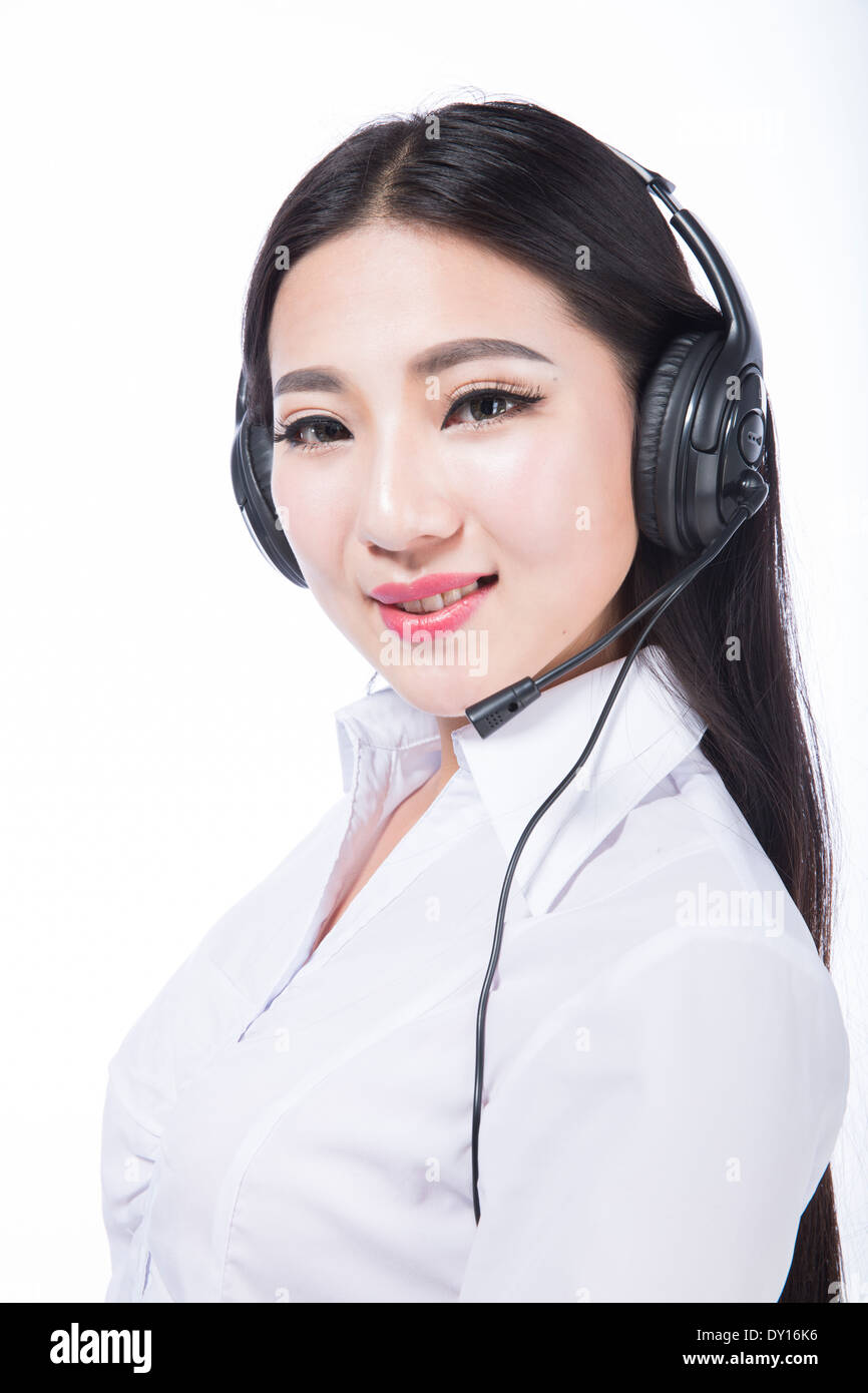Call Center Representative Black Hair Girl With Headphones Stock