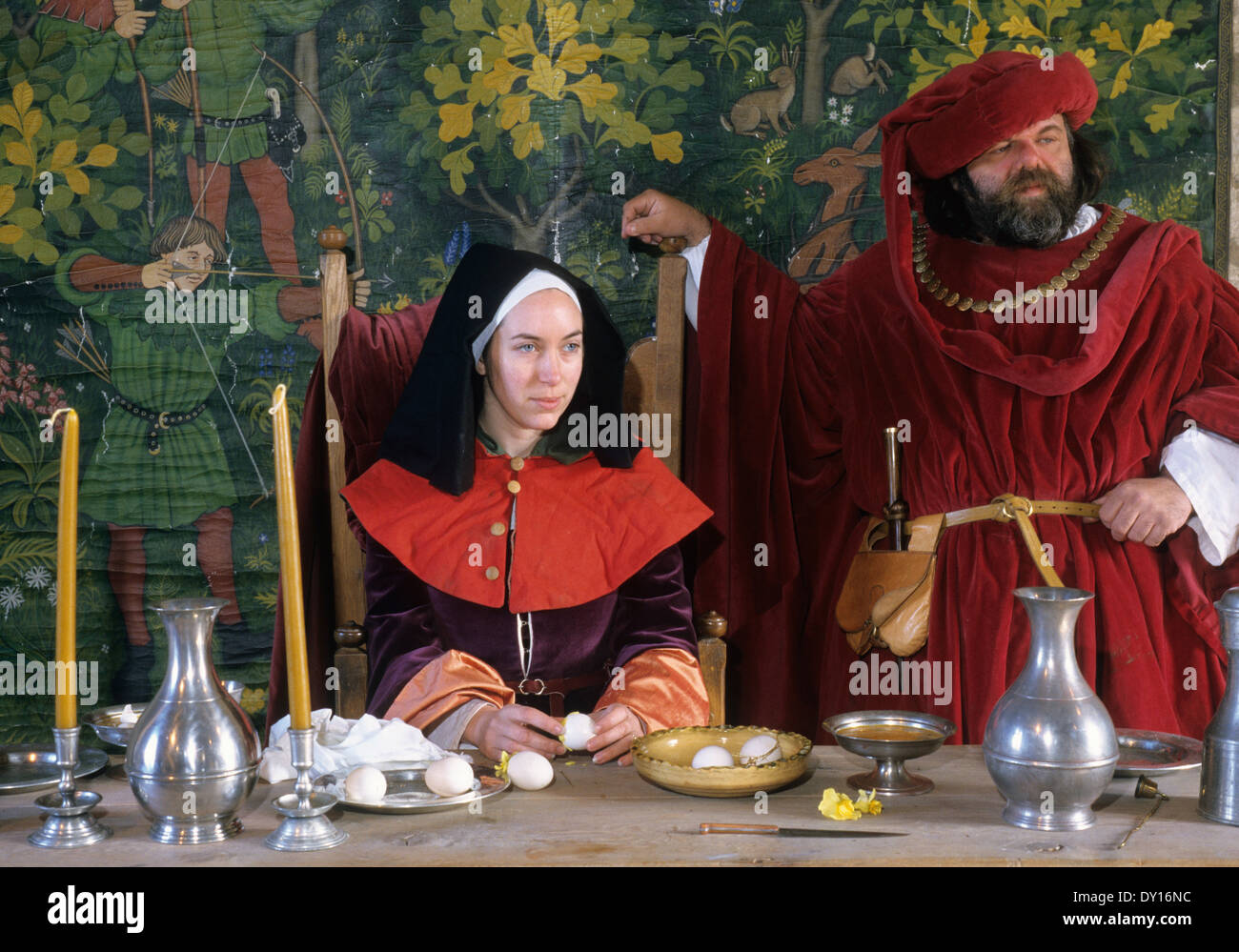 15th century medieval 15th century Lord and Lady in Manor House, historical re-enactment, costume costumes dress fashion fashions England UK - Stock Image