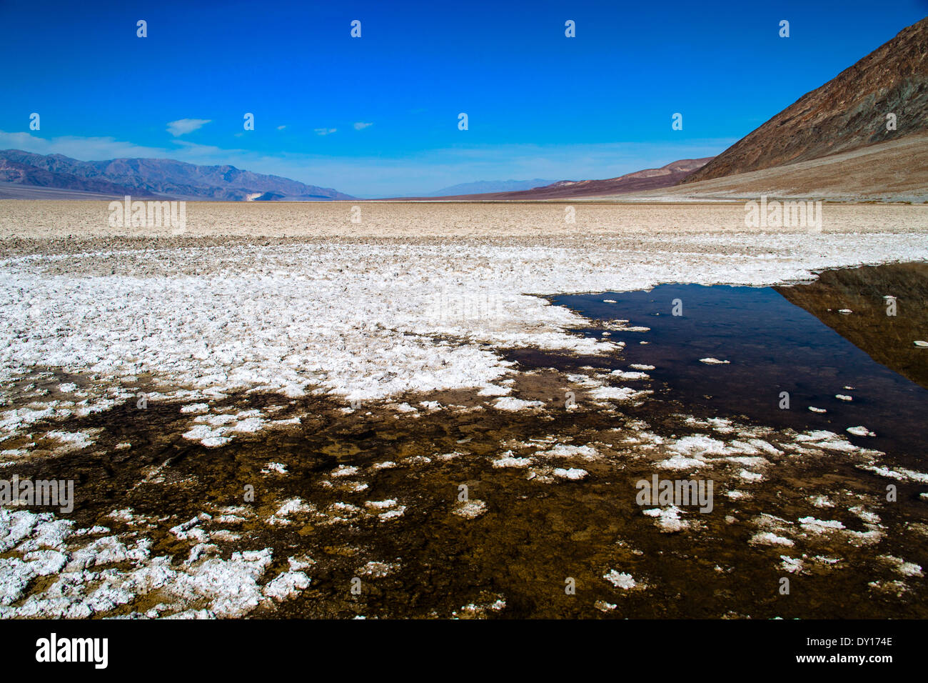 Death Valley California National Park United States of America. Bad water lowest elevation in USA -282 ft -86m below sea level - Stock Image