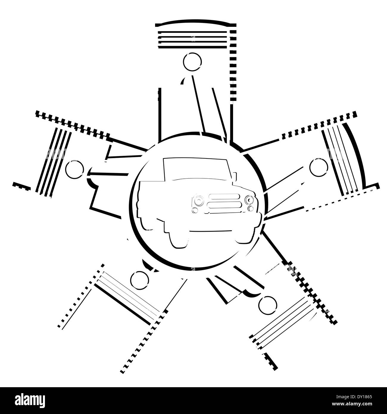 Piston And Cylinder Stock Photos Images Engine Diagram Illustration Abstract System On White Background Image