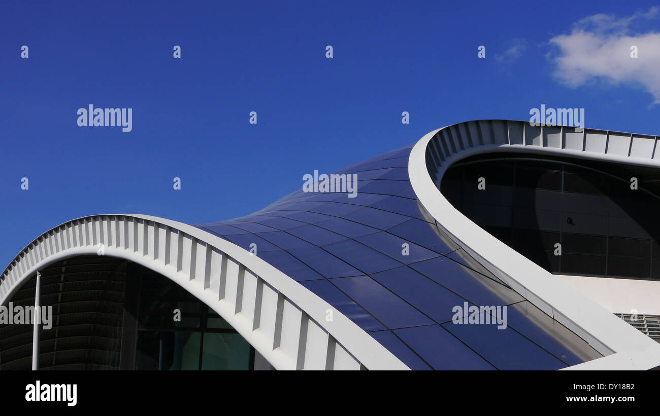 Sage Building, Gateshead, UK.  Partial view of roof architecture, Example of modern architecture, use of steel and glass - Stock Image