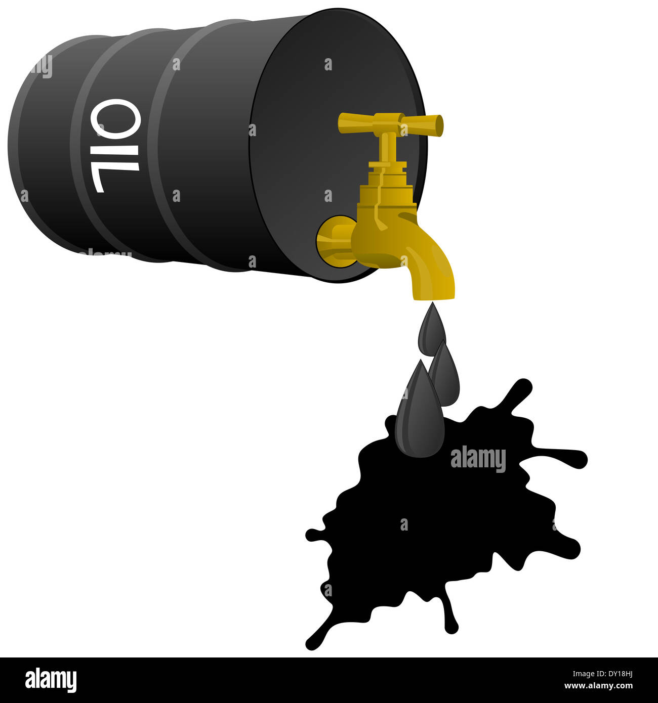 Barrel of oil products and stopcock dripping drops of oil. Illustration on white background. - Stock Image