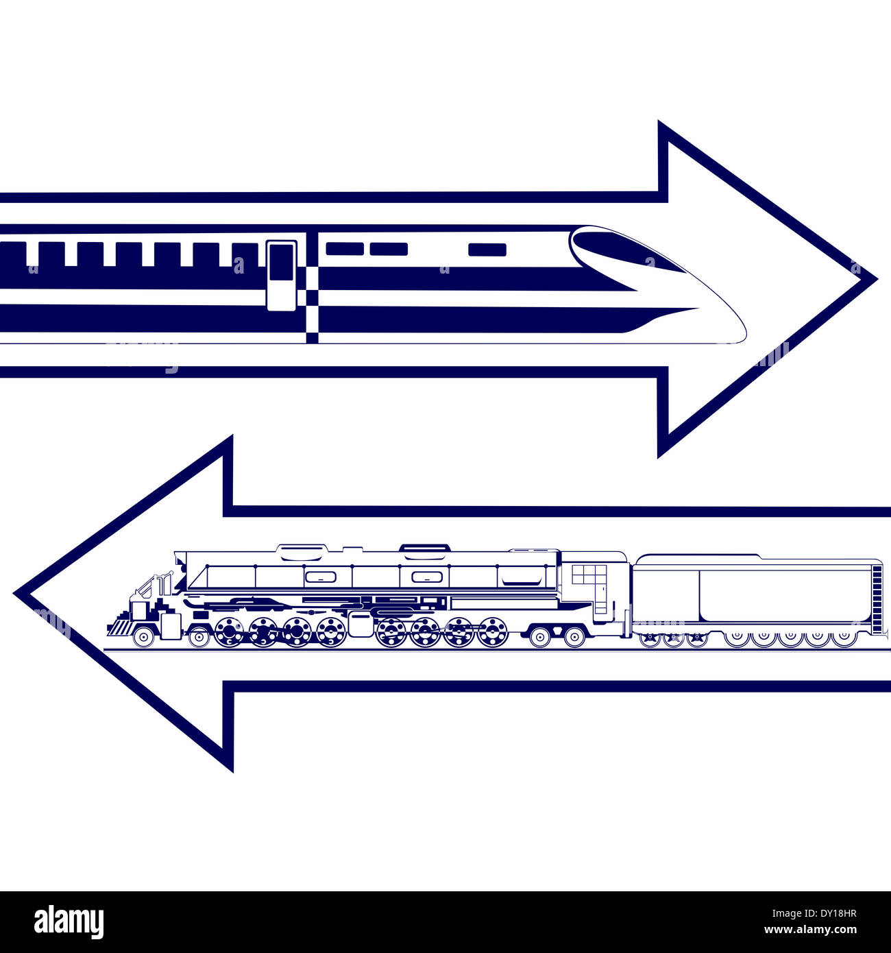 Railway transport. Abstract image of an old locomotive and modern trains. Illustration on white background. - Stock Image