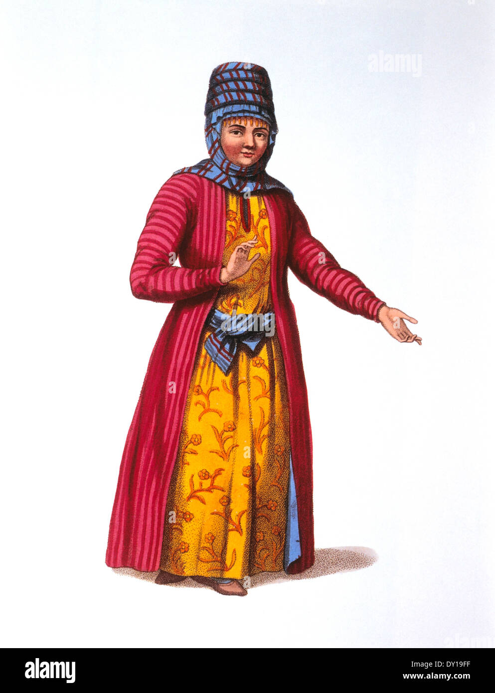 Kirghiz Woman, from Costumes for the Russian Empire, Hand-Colored Engraving, 1803 - Stock Image
