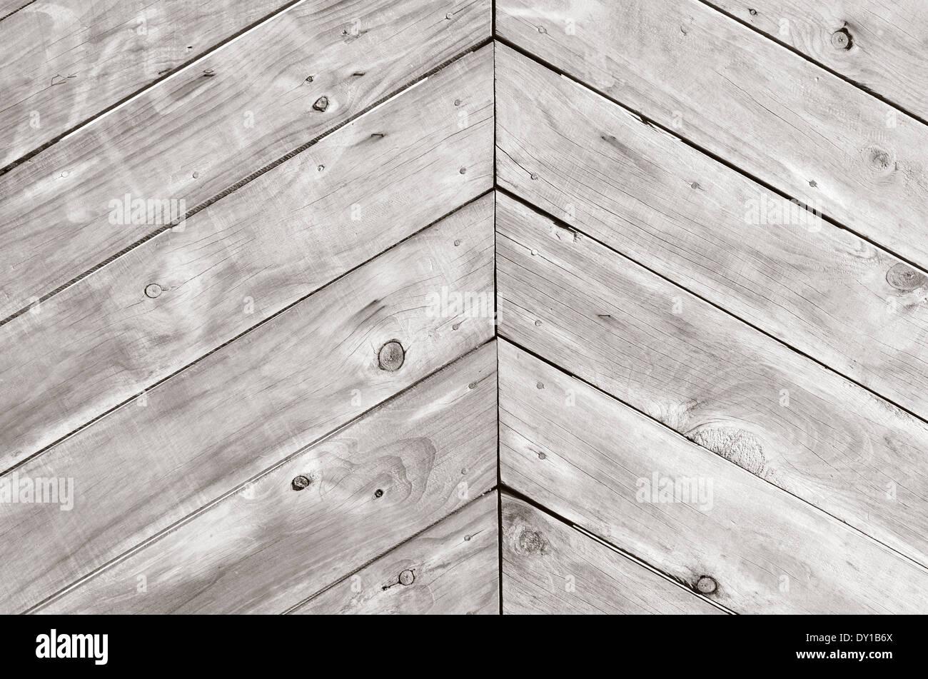 Triangle shape of empty wood planks background texture. (BW) - Stock Image