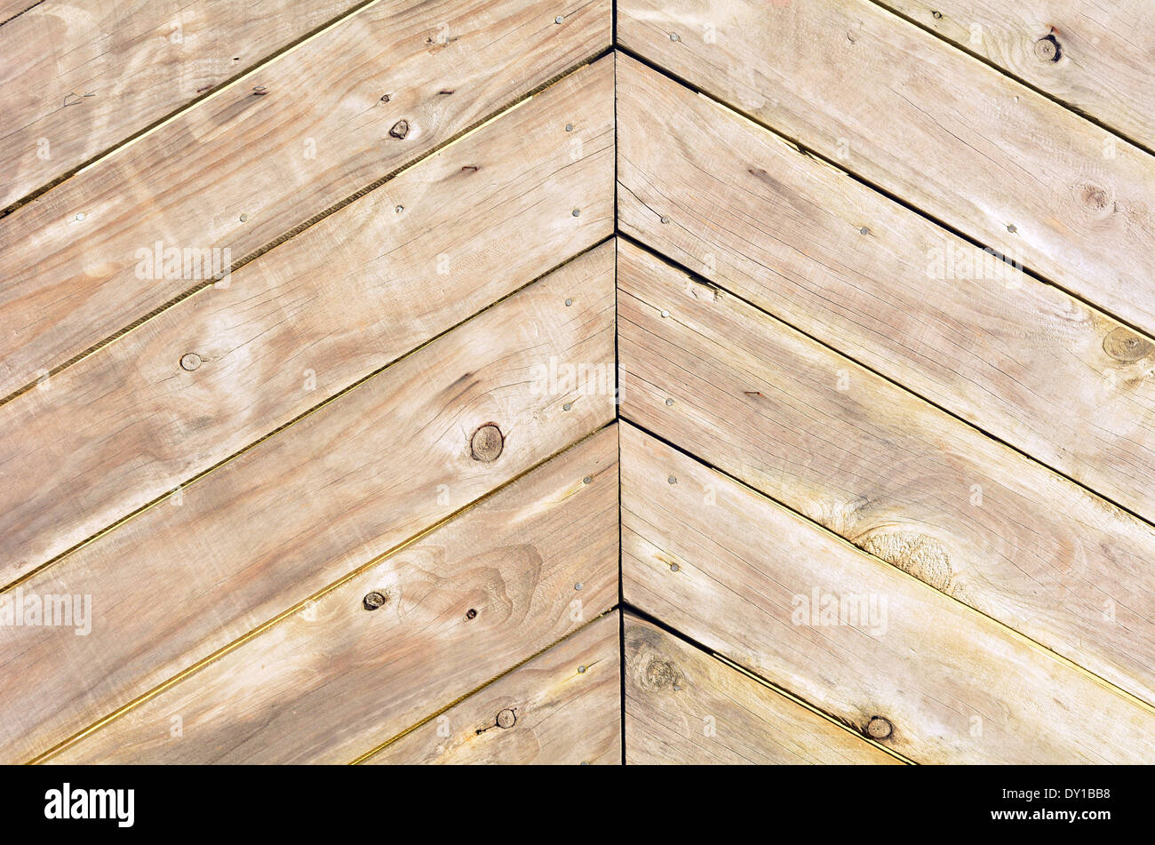 Triangle shape of empty wood planks background texture. - Stock Image