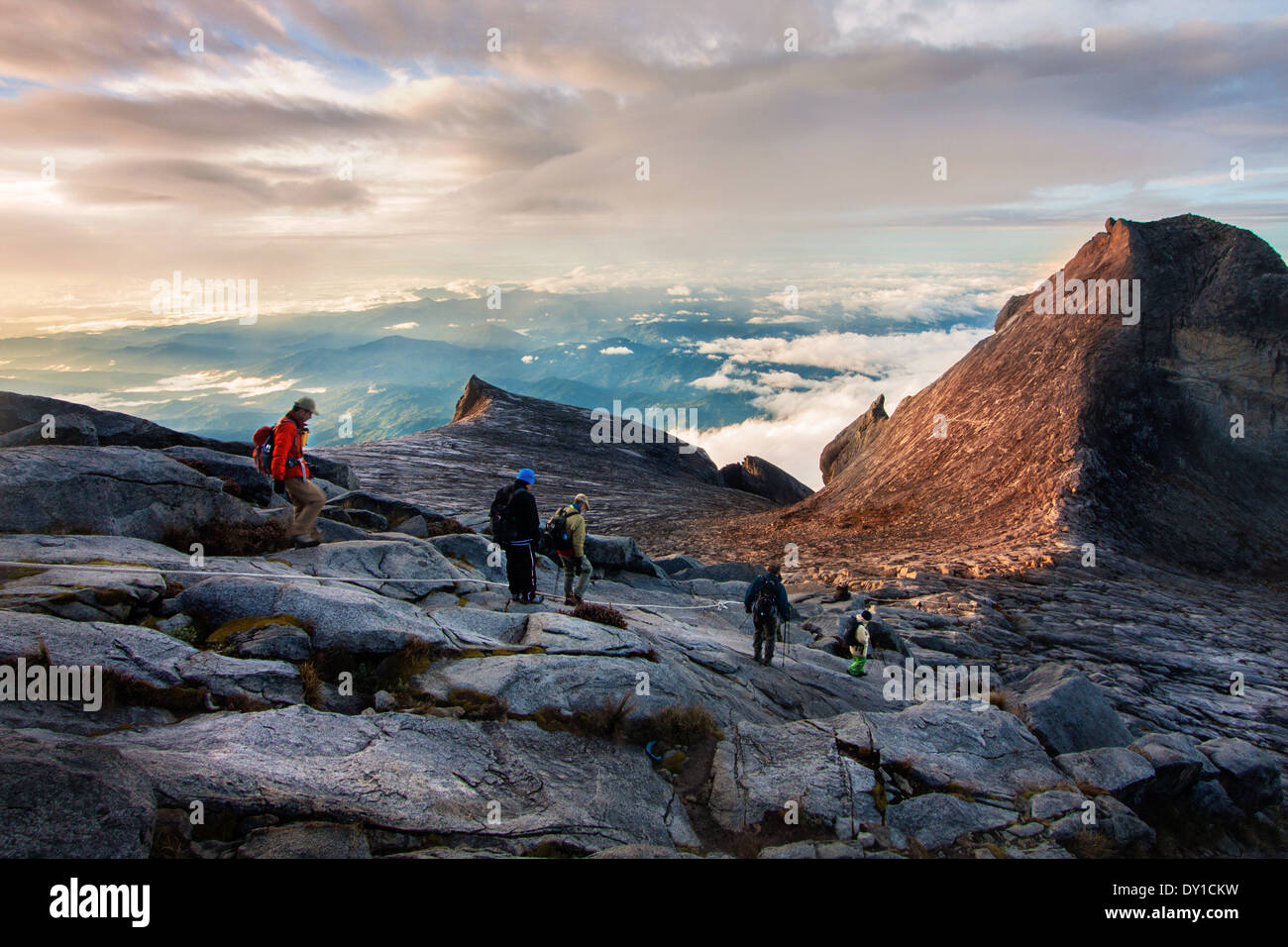 Tourists hike down Mount Kinabalu on February 16, 2012 in Kota Kinabalu,Malaysia. - Stock Image