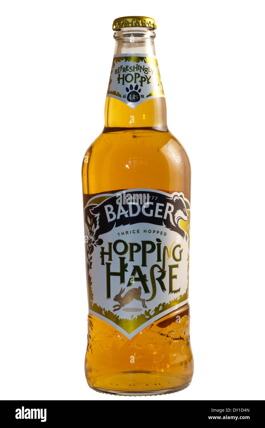A bottle of Hopping Hare beer. - Stock Image
