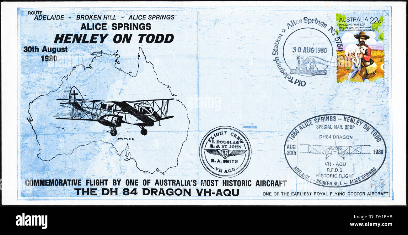 Commemorative Australia first day cover dated 30th August 1980 showing flight of DH 84 Dragon VH-AQU aircraft - Stock Image