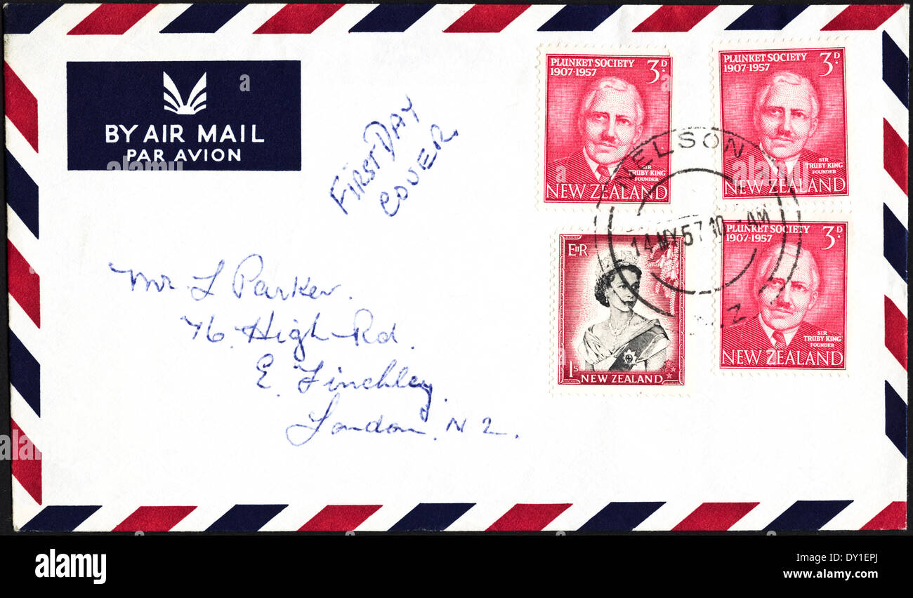 First day cover Plunket Society 1907 - 1957 Nelson New Zealand postmark 14th May 1957 3d postage stamps on Air Mail envelope - Stock Image
