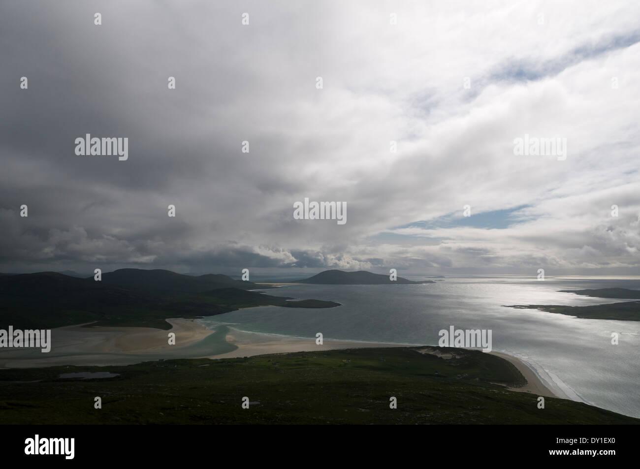 Tràigh Sheileboist beach and Ceapabhal (Toe Head - Gob an Tobha), from Beinn Dhubh, Harris, Western Isles, Scotland, UK - Stock Image