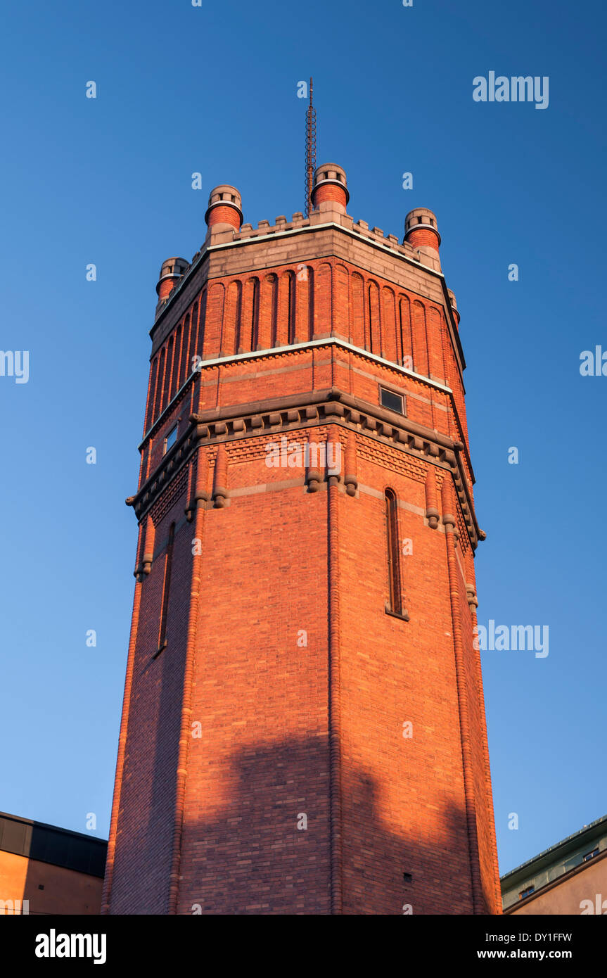 Mosebacke Torg water tower Sodermalm Stockholm Sweden - Stock Image