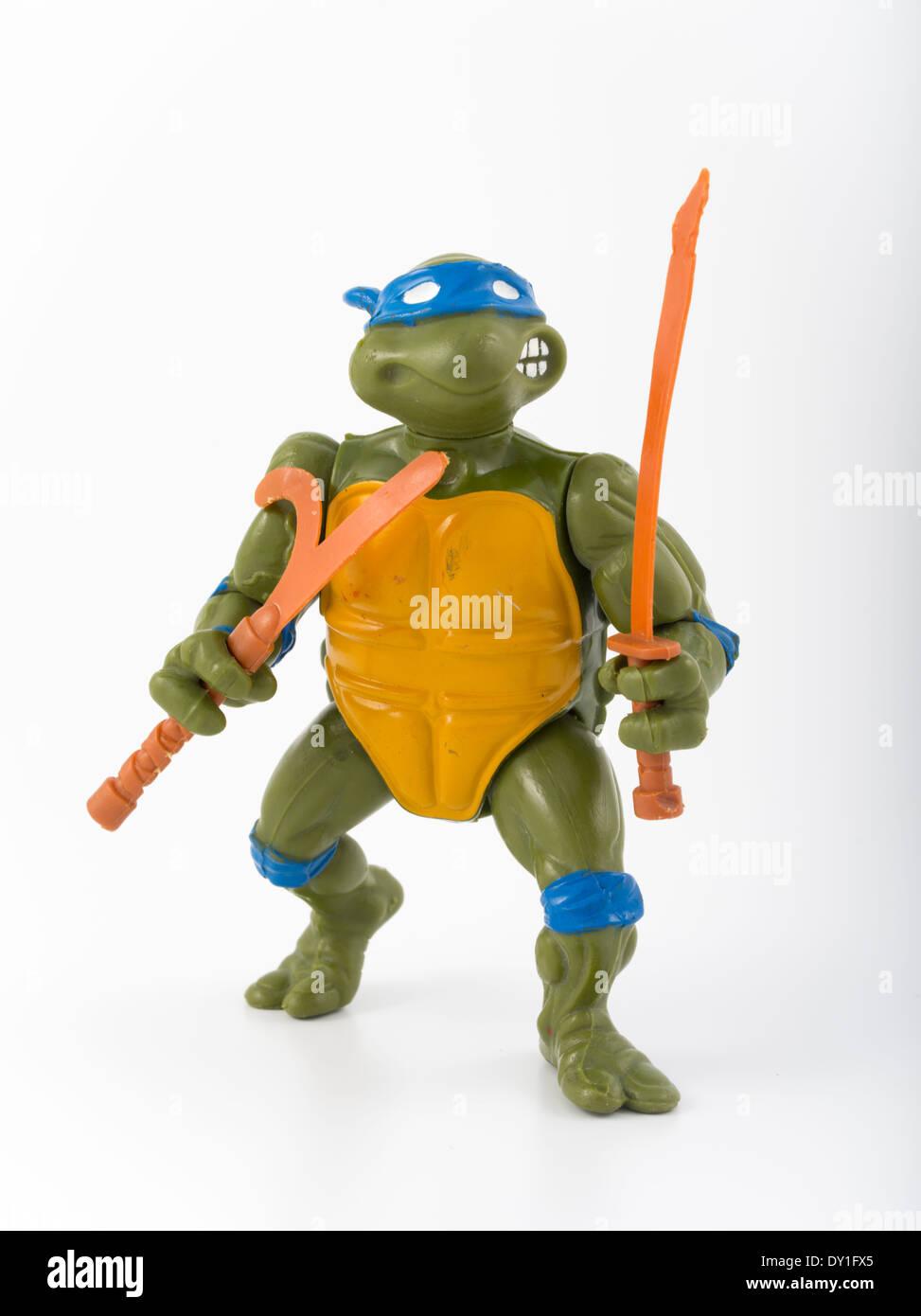 Teenage Mutant Ninja Turtles action figure 1988 Leonardo by Playmates - Stock Image
