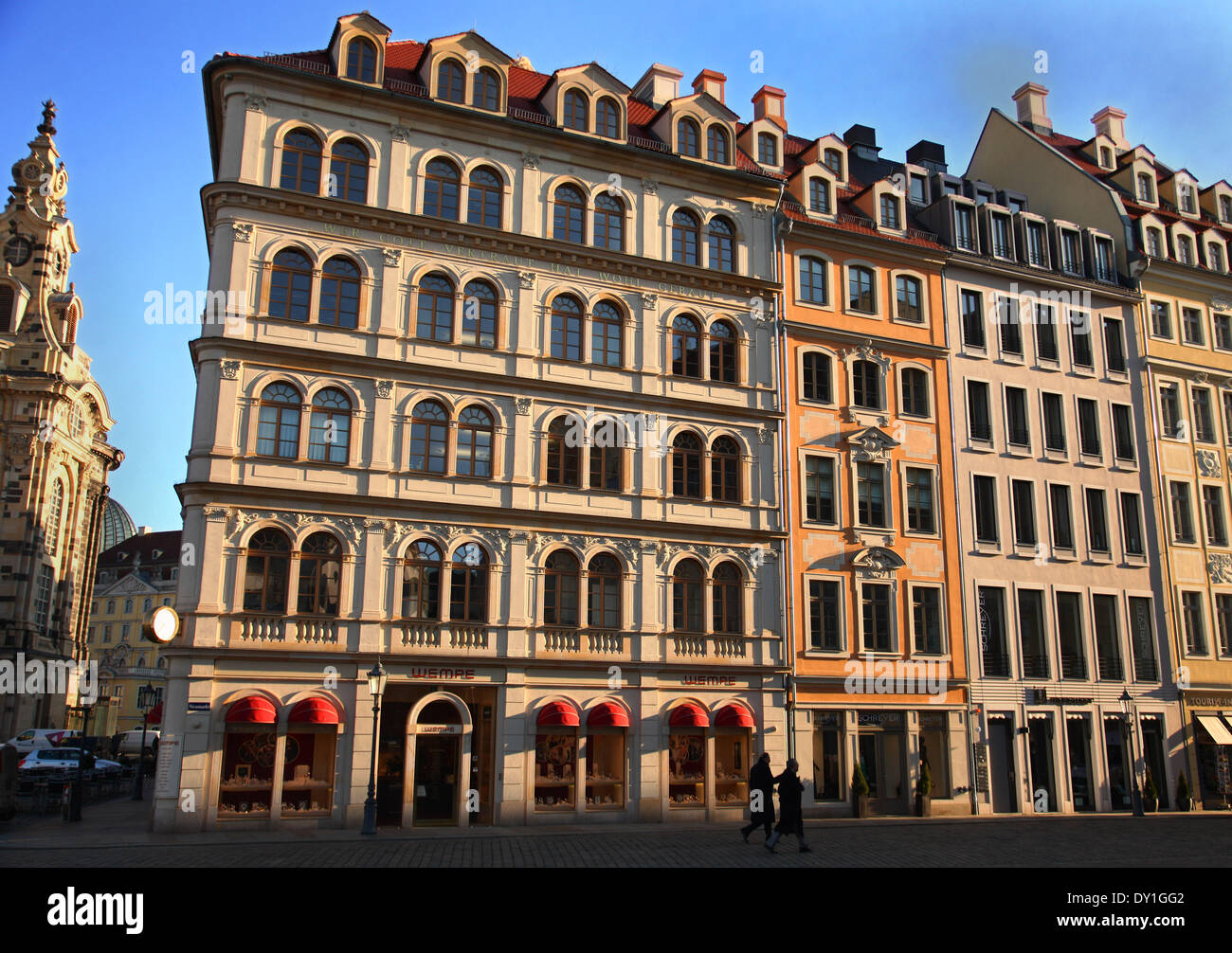 The reconstructed old buildings near to the church Frauenkirche in the center of Dresden, eastern Germany, pictured on February 04, 2014. Foto: Wolfram Steinberg dpa Stock Photo