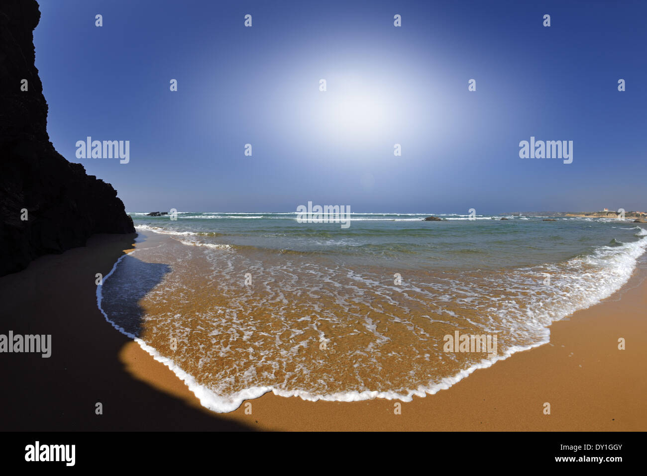 Portugal, Alentejo, Nature Park Costa Vicentina and Southwest of Alentejo, beach, Praia de Furnas, green water, clean, transparent, sand, rocks, sun, sunny, estuary, river Mira, ocean, sea, coast, travel, tourism, seascape, calm, no people, wide, natual, Stock Photo