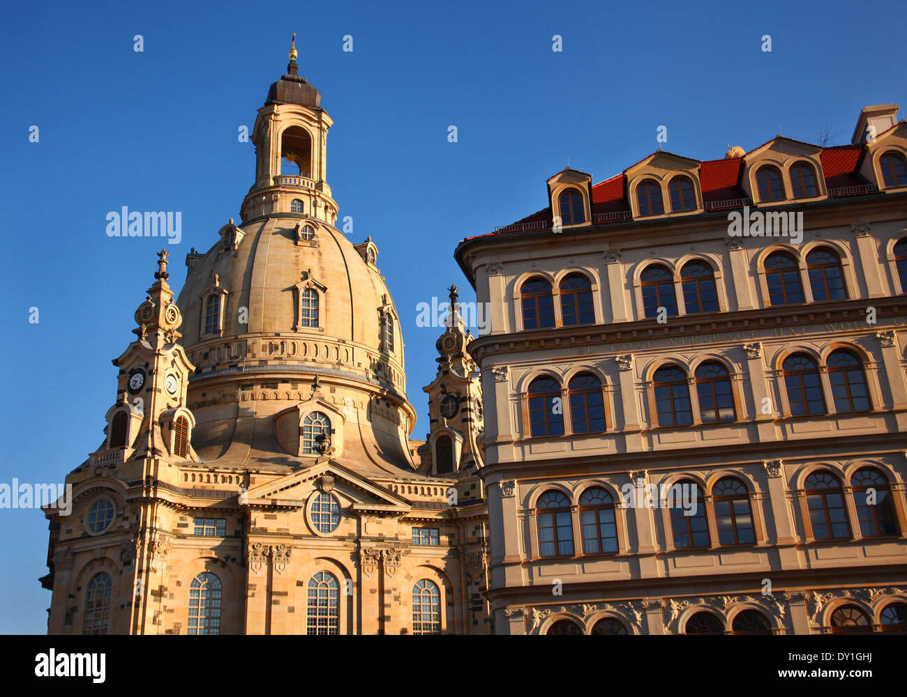 The reconstructed old buildings next to the church Frauenkirche in the center of Dresden, eastern Germany, pictured on February 04, 2014. Foto: Wolfram Steinberg dpa Stock Photo