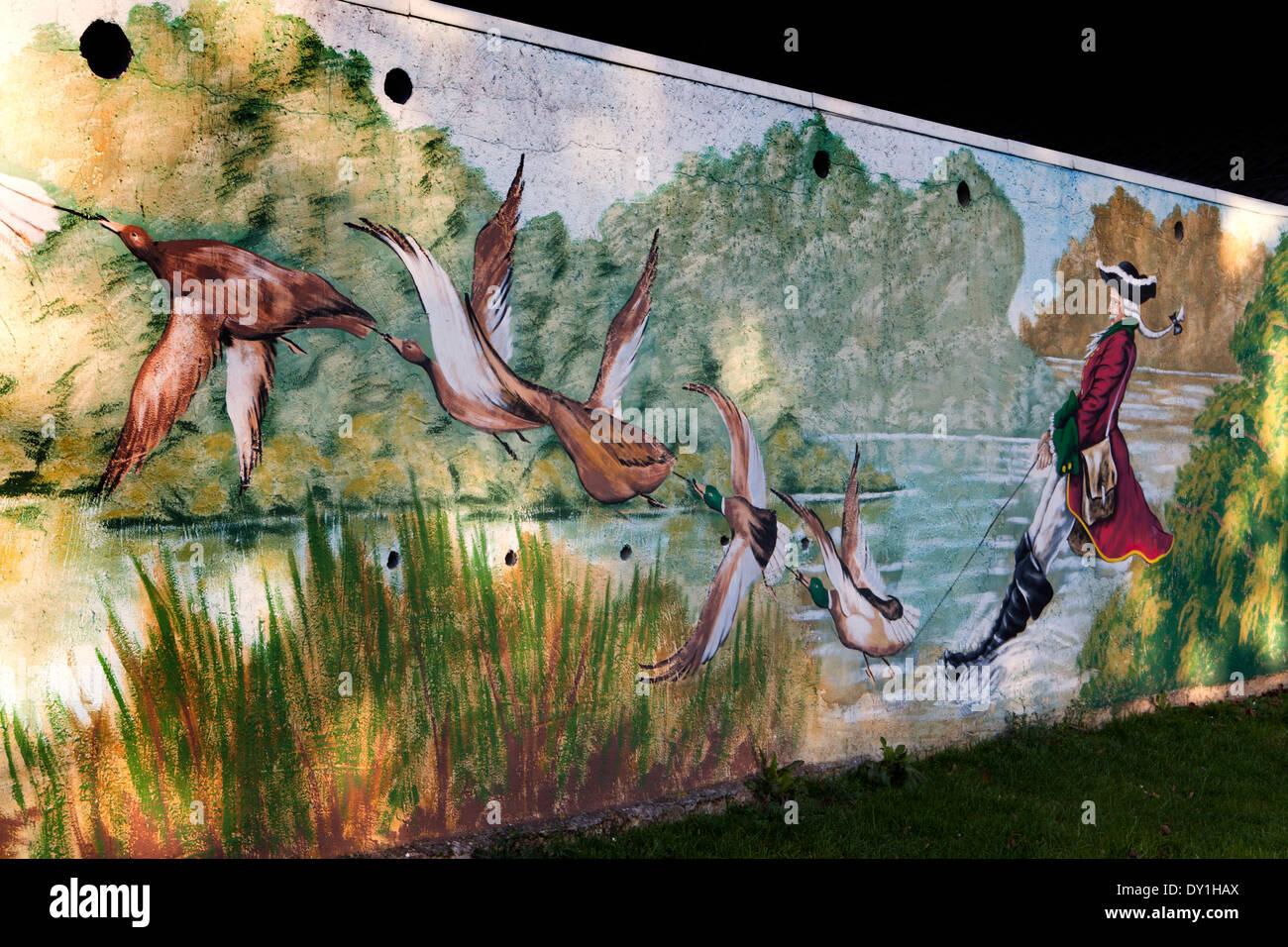Baron Muenchhausen, Graffiti, Bodenwerder, Weserbergland, Lower Saxony, Germany Stock Photo
