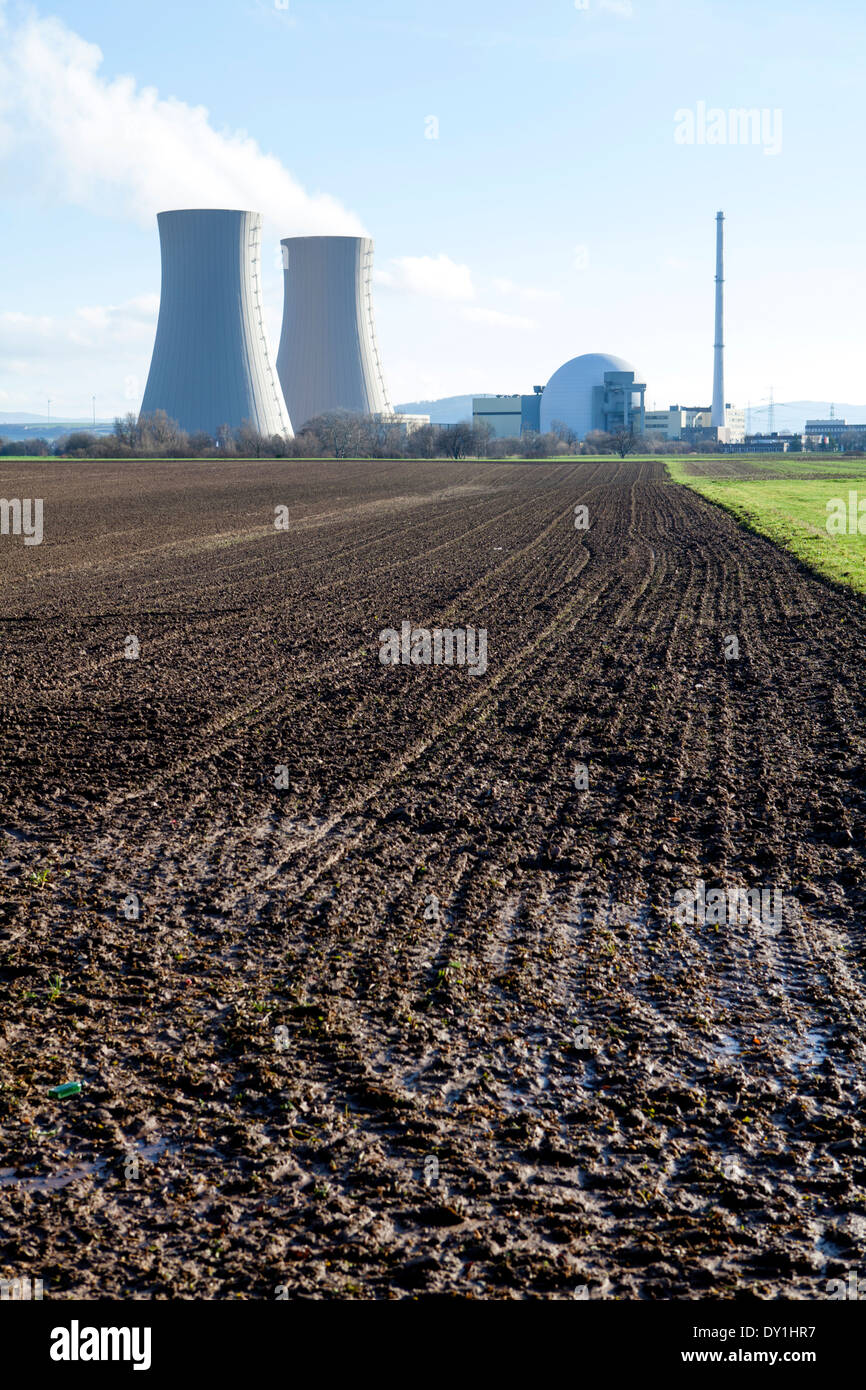 Grohnde Nuclear Power Plant, Emmerthal, Hameln, Lower Saxony, Germany, Europe - Stock Image