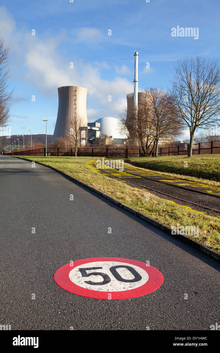 Grohnde Nuclear Power Plant, Emmerthal, Hameln, Lower Saxony, Germany, Europe Stock Photo