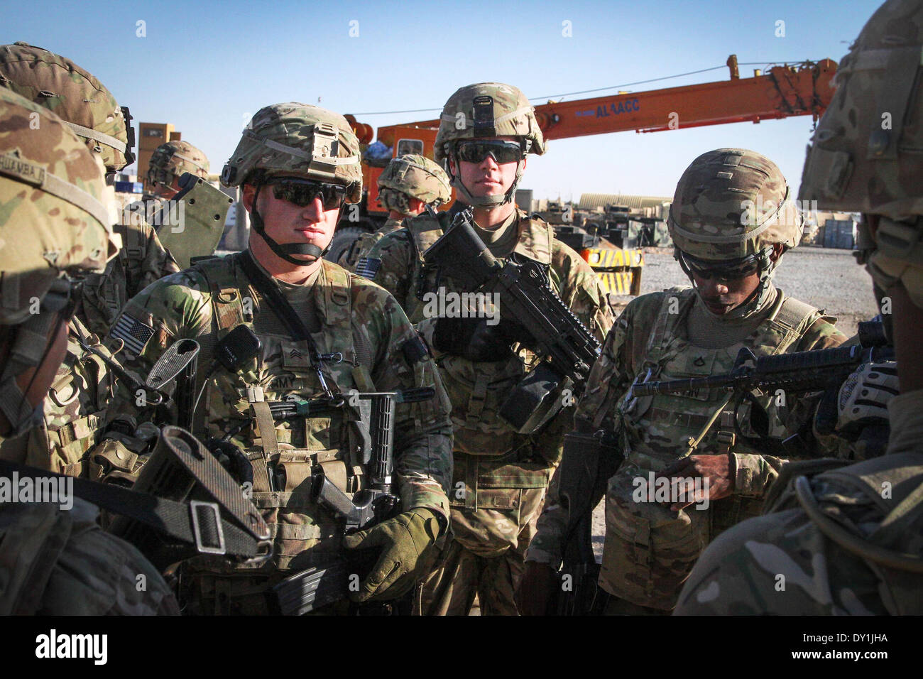 US Soldiers With Forward Support Company 65th Engineer Battalion Conduct A Patrol March 26 2014 In Kandahar Province Afghanistan