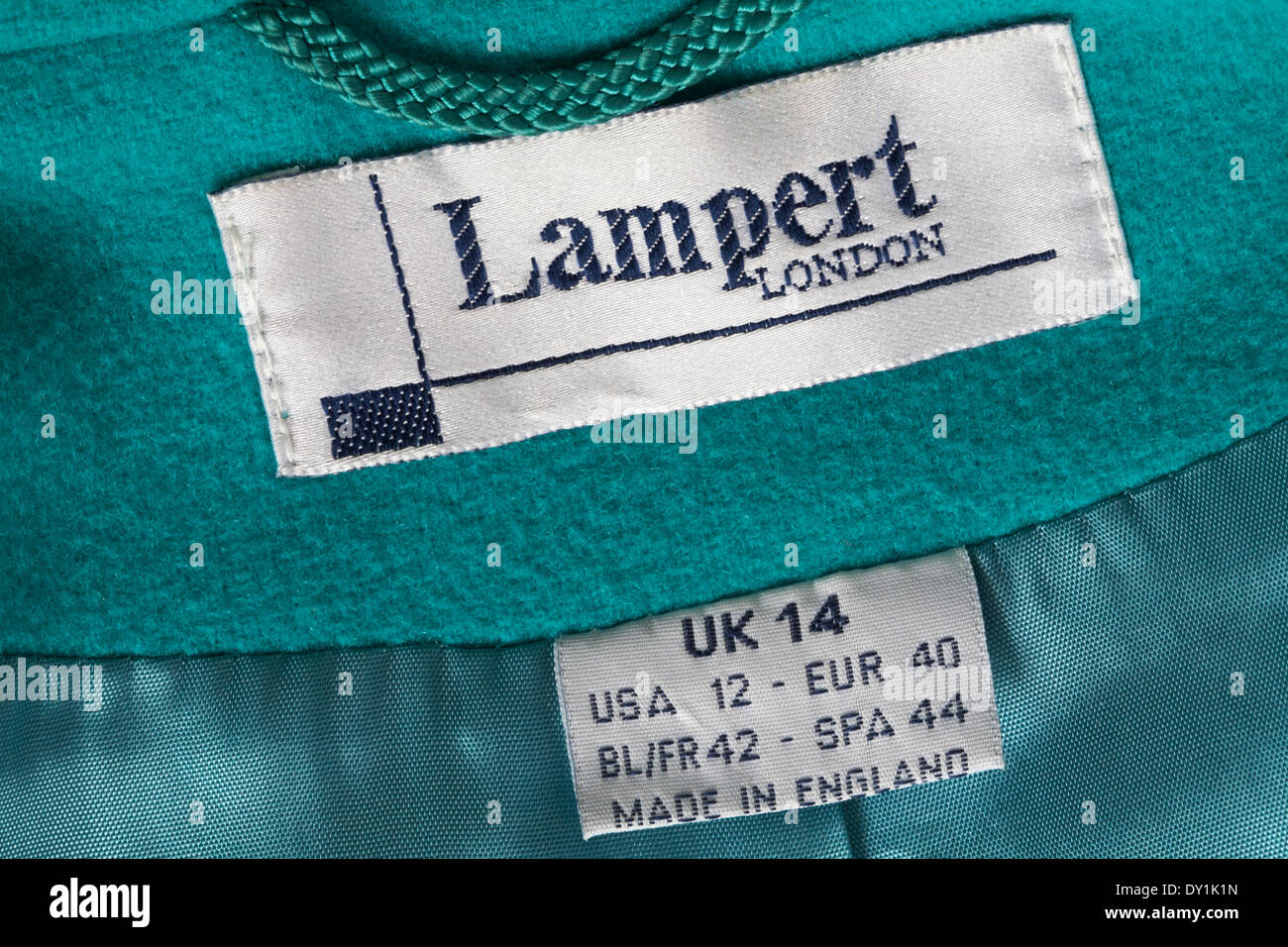Lampert London Made in England label in coat - Stock Image