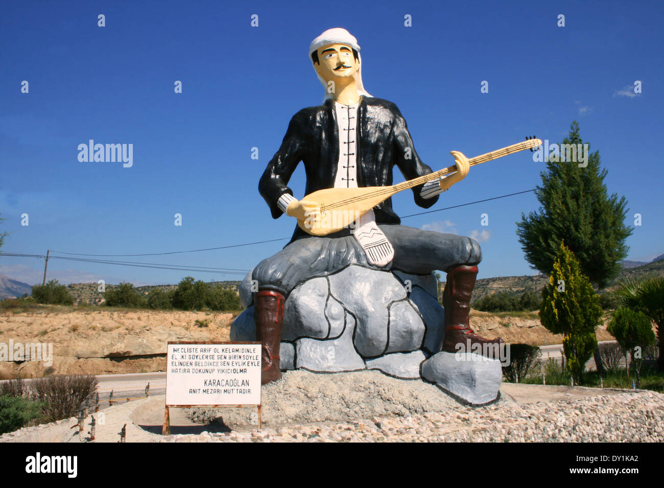 Turkish Poet Karacaoglan Statue in Mut,Mersin,Turkey - Stock Image