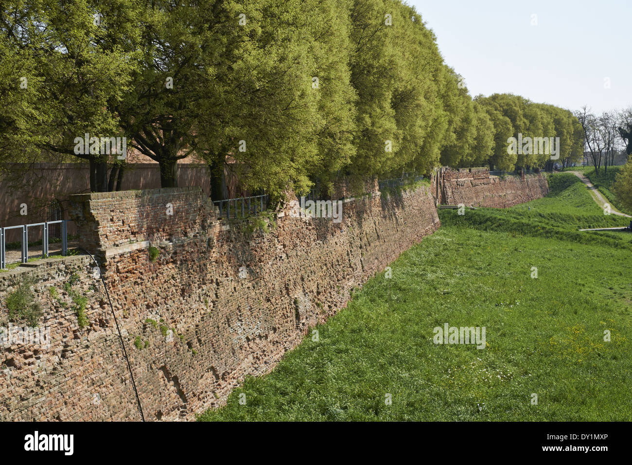Ferrara, Italy. Fortified city walls built of brick 15th and 16th centuries by d the d'Este dynasty - Stock Image