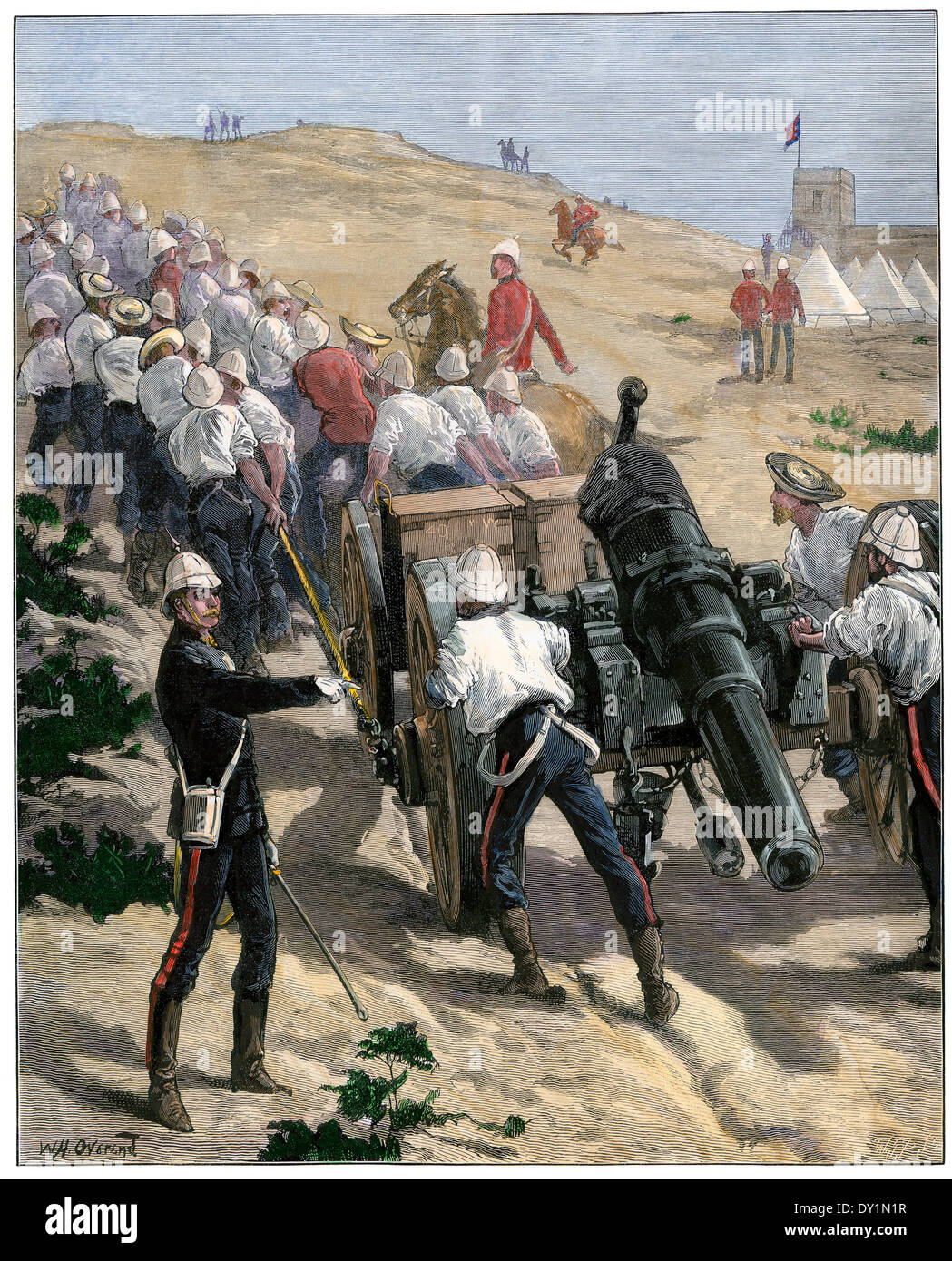 British troops dragging artillery into position near Alexandria during occupation of Egypt, 1882. Hand-colored woodcut - Stock Image