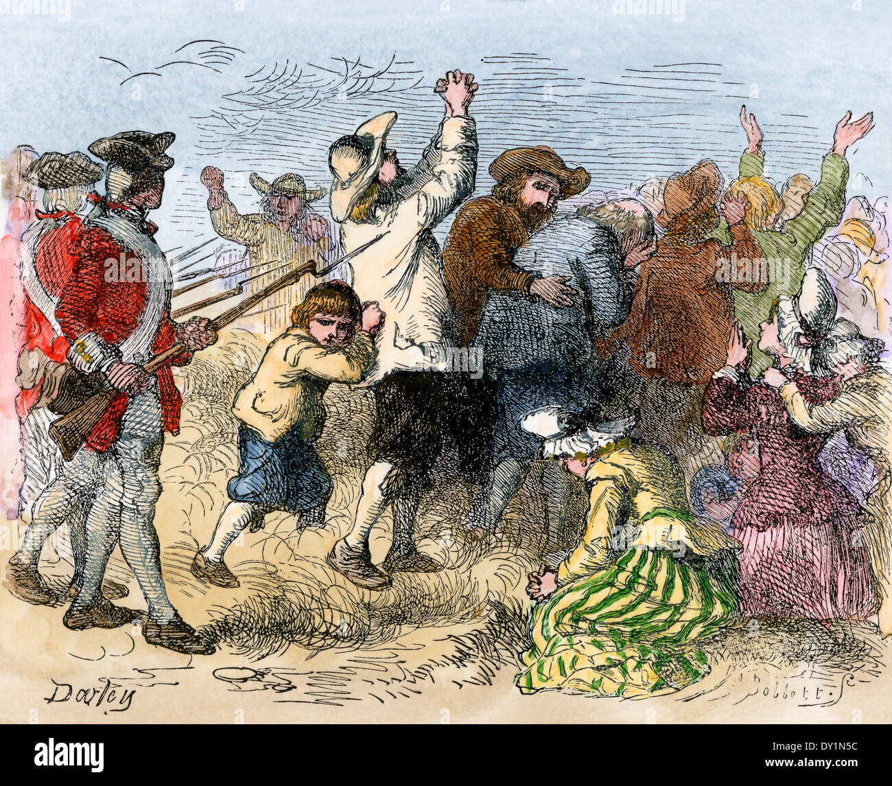Acadians driven into exile by the British, 1750s. Hand-colored woodcut - Stock Image