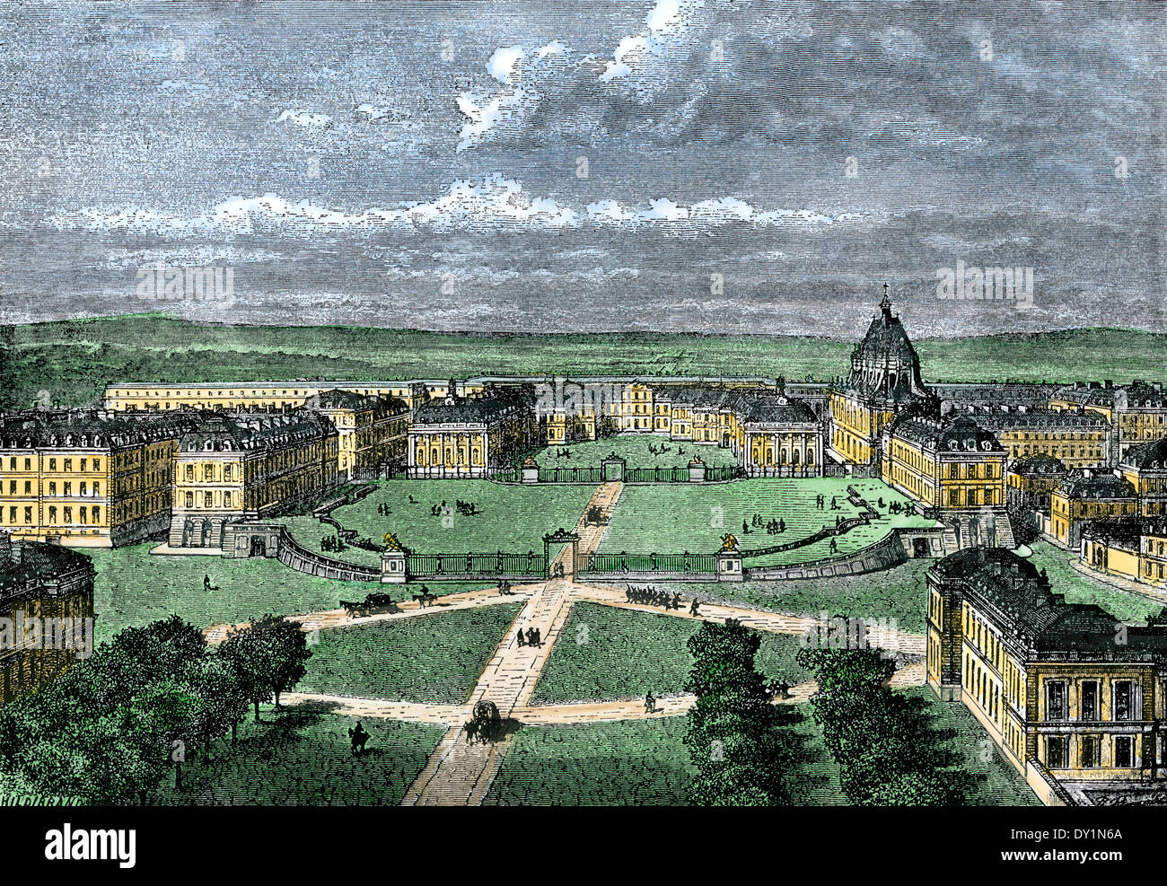 Versailles Palace outside Paris, France. Hand-colored woodcut - Stock Image