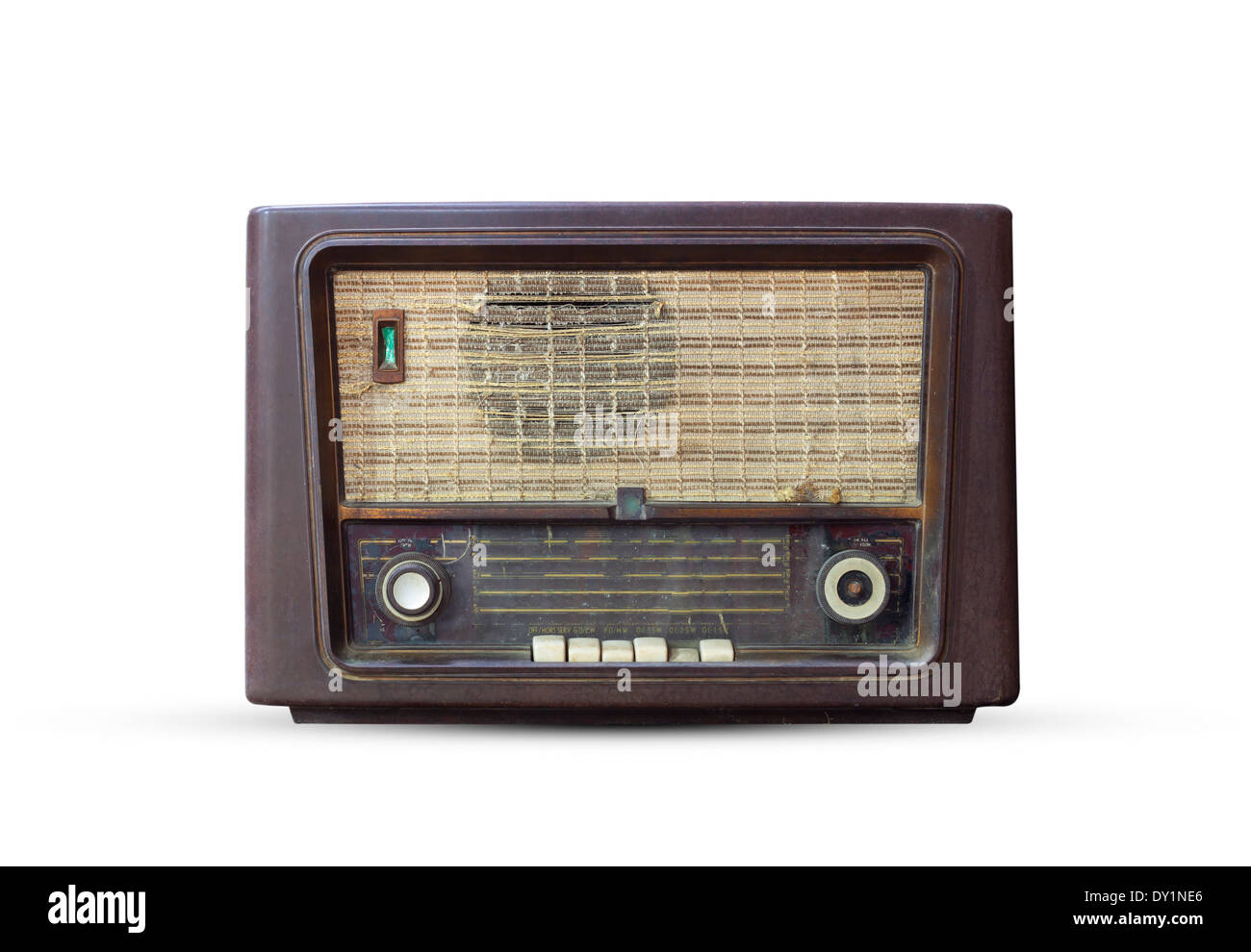 Old radio. Realistic illustration of an old radio receiver of the last century Stock Photo