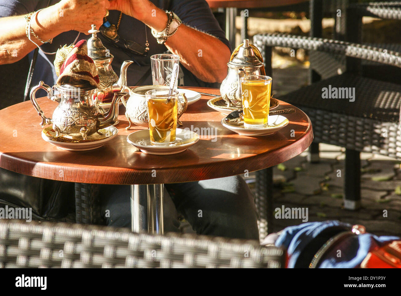 Casablanca, Morocco sweet local tea in the market - Stock Image