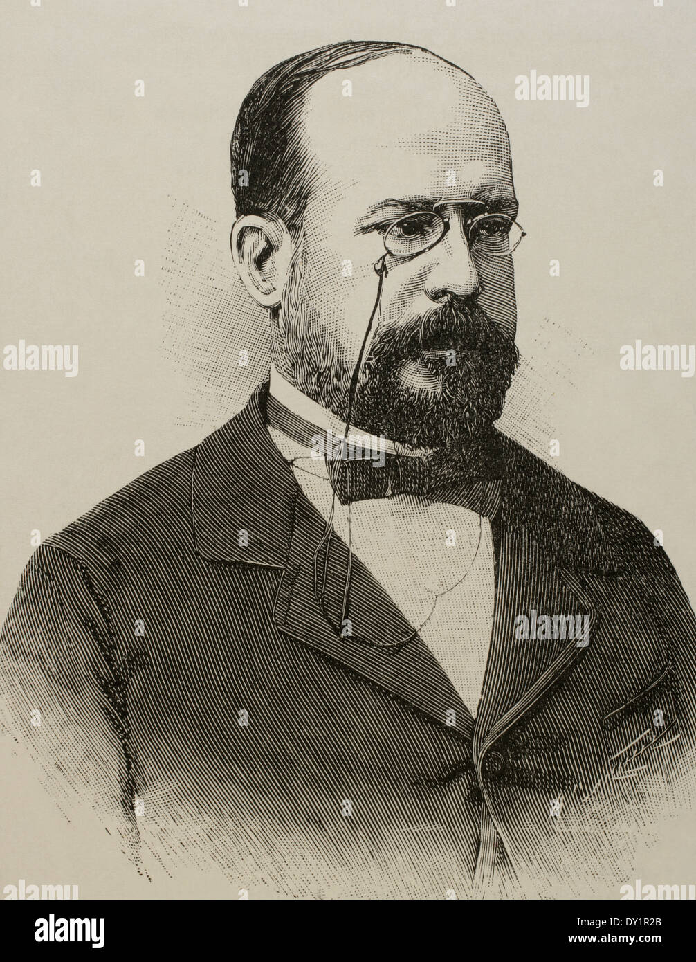 Eduardo Leon y Ortiz (19th century). Spanish professor at the Faculty of Sciences of the Central University. Stock Photo