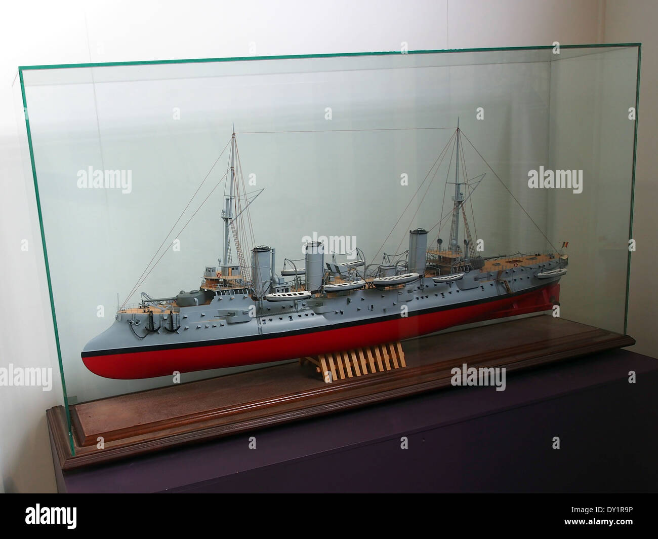 WWI warship model in the Royal Military Museum Brussels - Stock Image