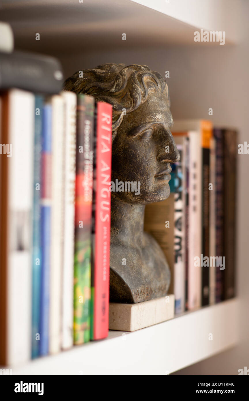 Detail of a bust amongst the books on a bookshelf - Stock Image