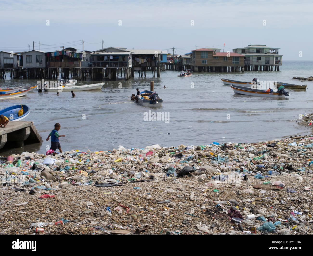 Trash / garbage  surrounding the Stilt village of Koki , Port Moresby, Papua New Guinea - Stock Image